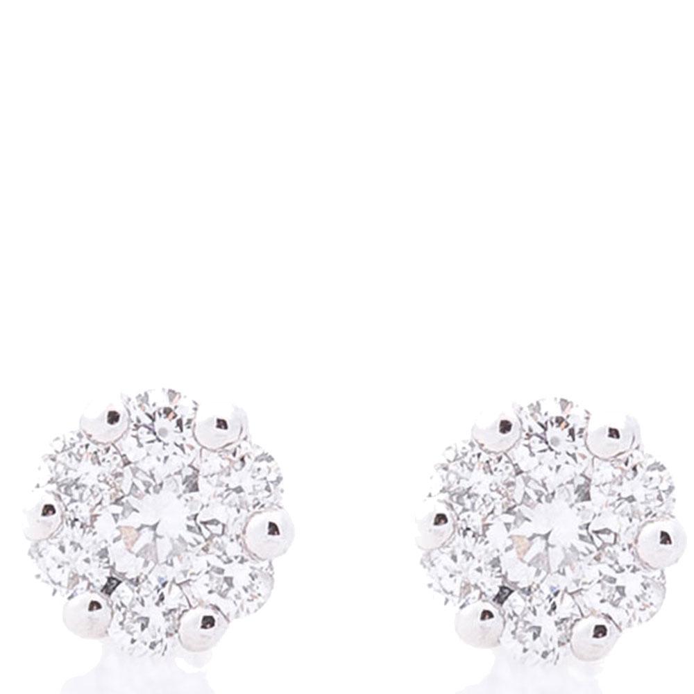 Серьги-пусеты с бриллиантами Оникс из белого золота