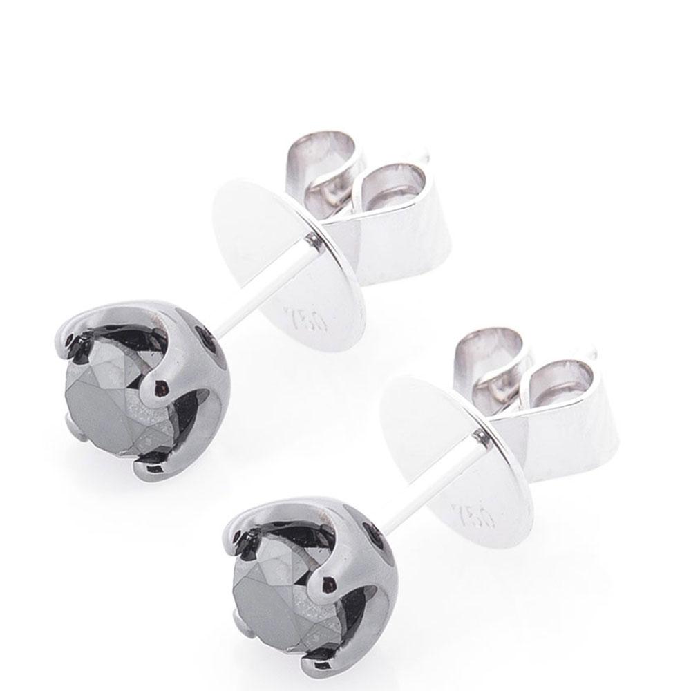 Золотые серьги-гвоздики Оникс с черным бриллиантом