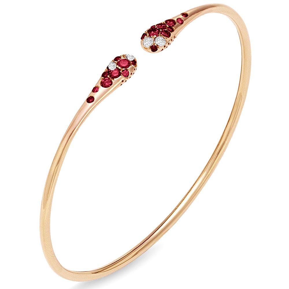 Браслет из розового золота с бриллиантами и рубинами Ponte Vecchio