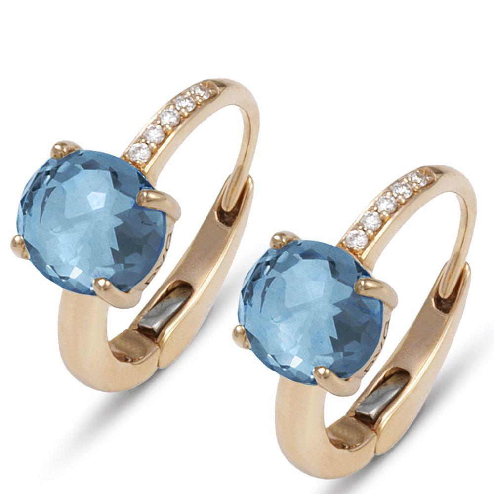 Золотые серьги с бриллиантами и крупными лондонскими топазами Ponte Vecchio