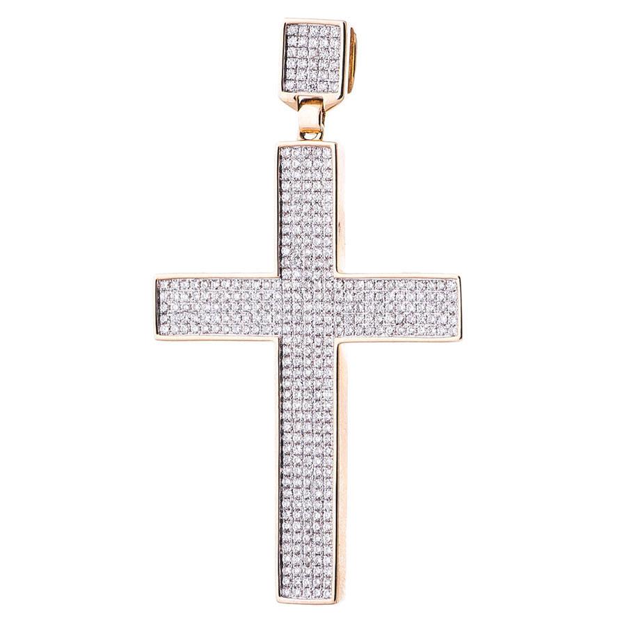 Золотая подвеска-крестик Оникс с бриллиантами