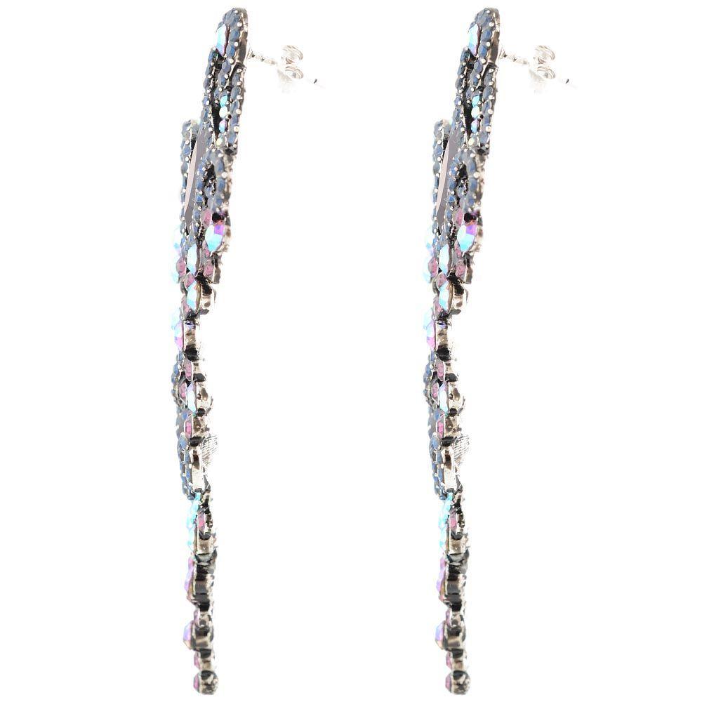 Серьги Parure Milano длинные с круглыми кристаллами Swarovski и большими зелеными кристаллами ромбообразной формы