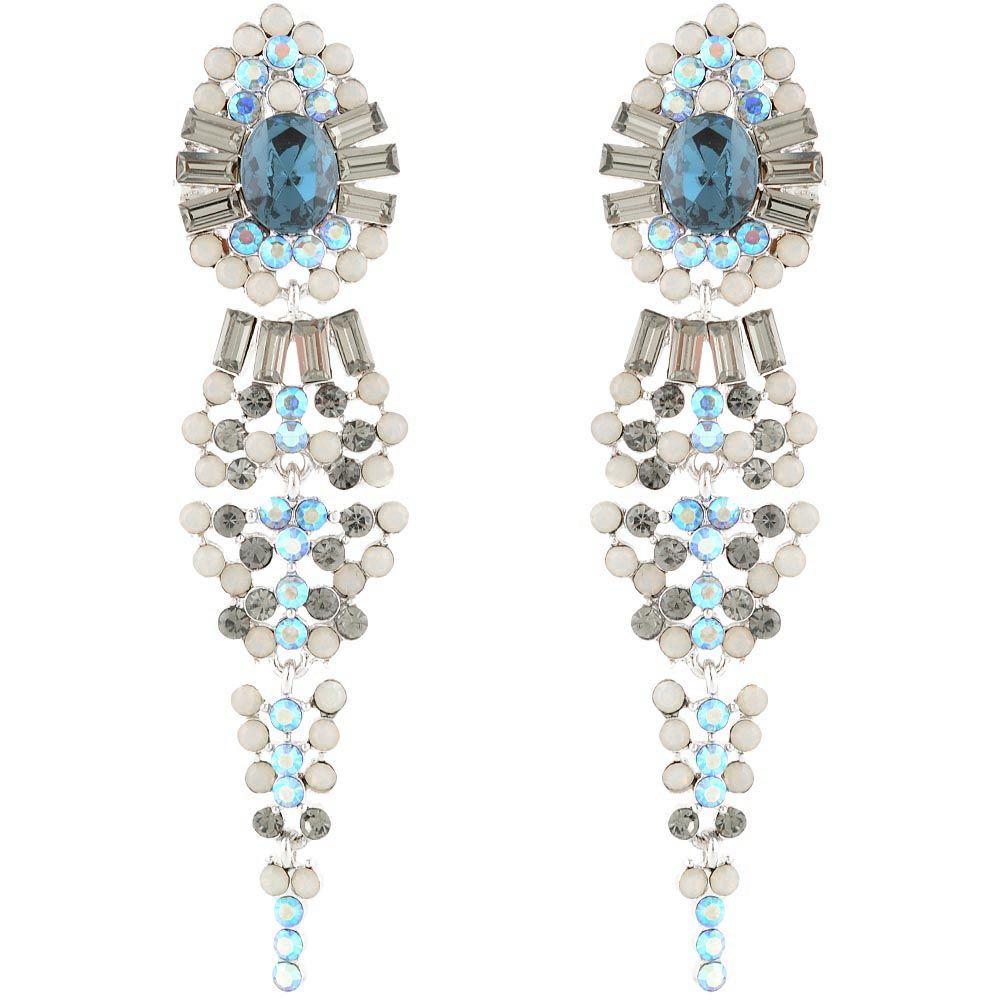 Серьги Parure Milano длинные с круглыми камнями темно-синего цвета и со вставками из прямоугольных кристаллов