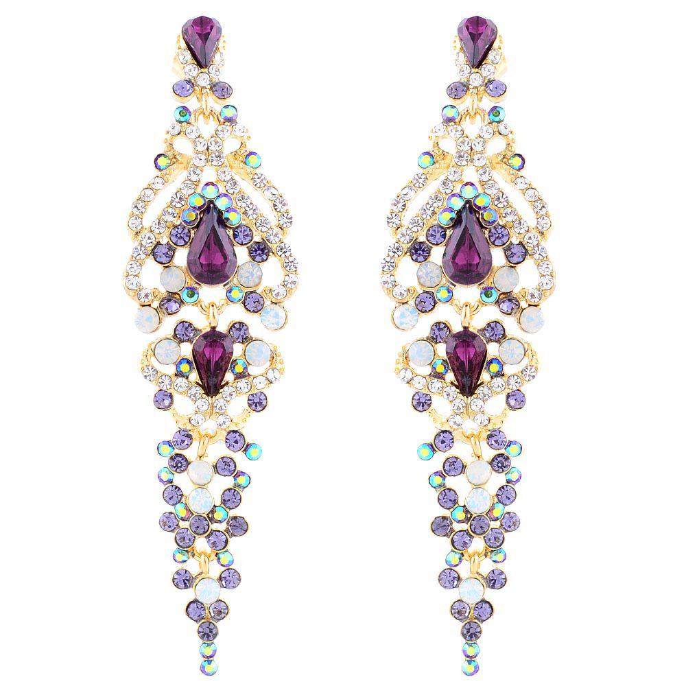 Длинные серьги Parure Milano позолоченные с цветными кристаллами Swarovski