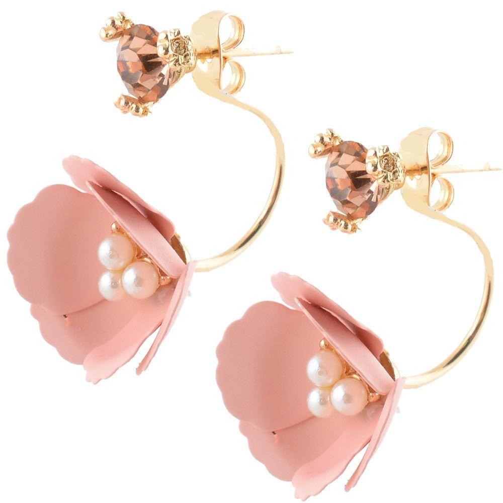 Нежные серьги-гвоздики Jewels бежево-розового цвета