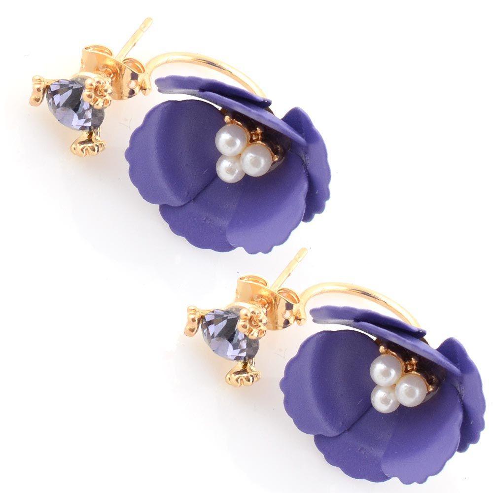 Пуссеты Jewels пурпурного цвета с кристаллом и цветком с бисером