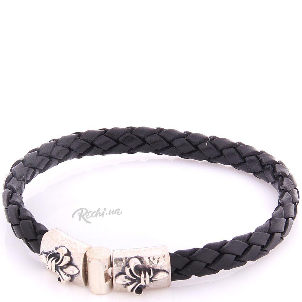 Плетеный кожаный браслет ElfCraft черного цвета