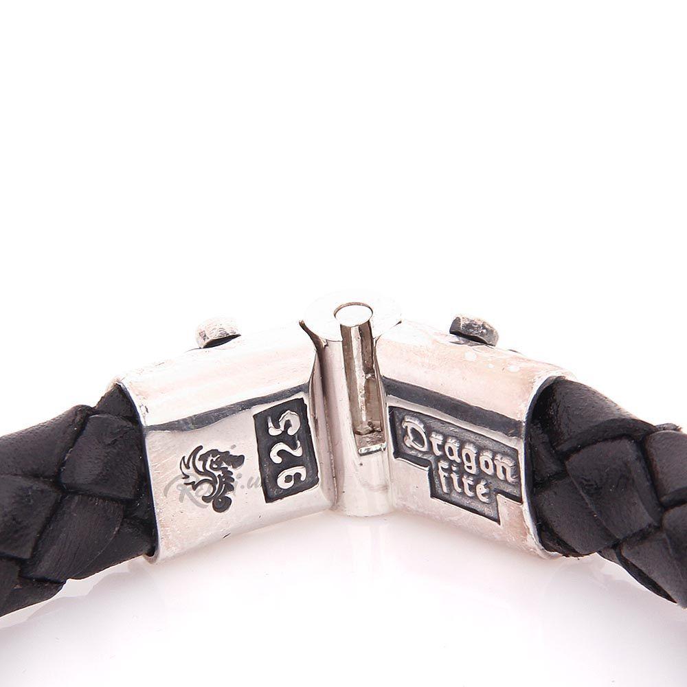 Плетеный кожаный браслет ElfCraft Драконы