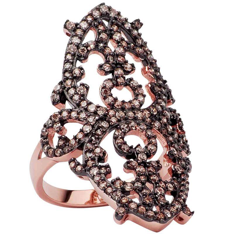 Кольцо Armadoro Jewelry узорное с покрытием из розового золота с кристаллами цвета шампань