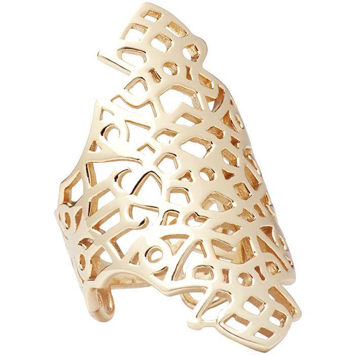Кольцо Armadoro Jewelry широкое узорное покрытое желтым золотом