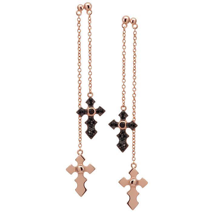 Серьги Armadoro Jewelry на цепочках с крестиками из черных кристаллов