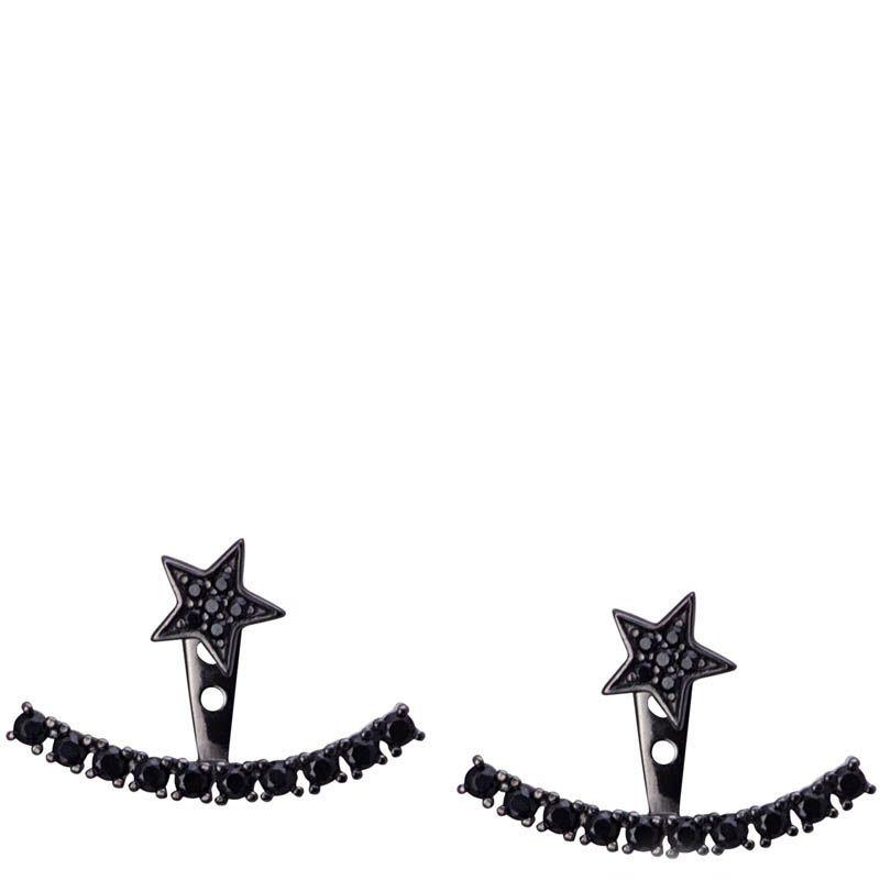 Серьги Armadoro Jewelry со звездочками и дугой из черных кристаллов