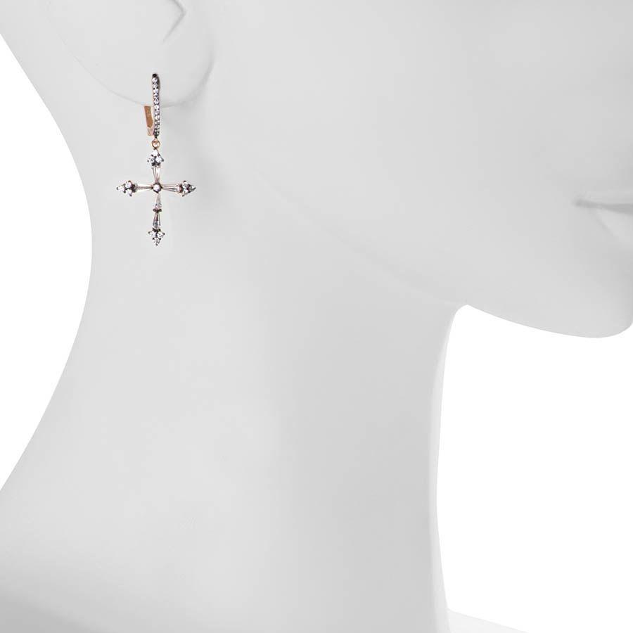 Серьги Armadoro Jewelry с розовым золотом и с крестиками из цирконов