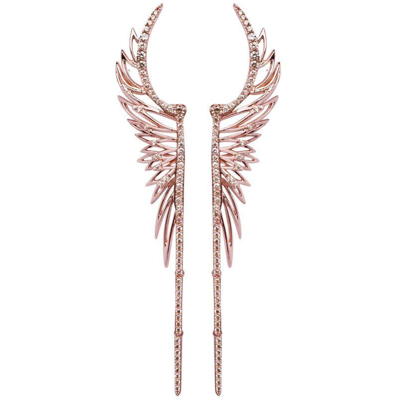 Серьги Armadoro Jewelry в виде крыльев с покрытием из розового золота с белыми кристаллами