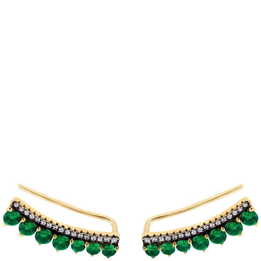 Серьги Armadoro Jewelry с зелеными искусственными изумрудами
