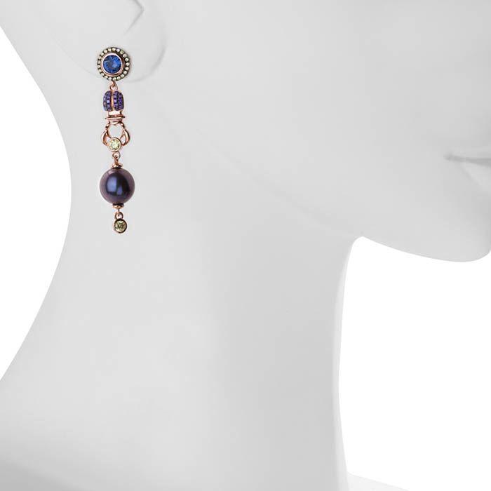 Серьги Armadoro Jewelry с цветными цирконами и фигурками скарабеев