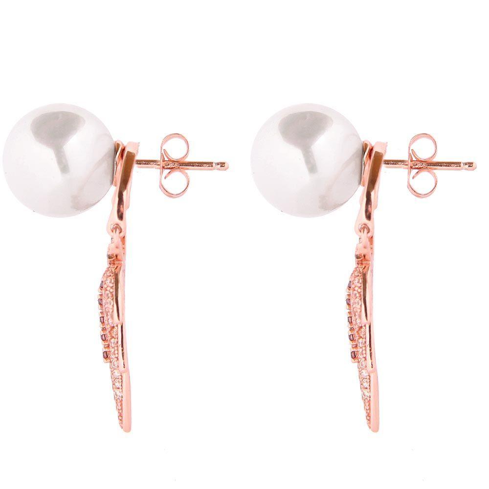 Серьги Armadoro Jewelry с жемчужинами и съемной подвеской украшенной цирконами