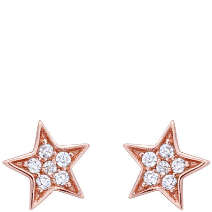 Серьги Armadoro Jewelry в розовом золоте в форме звездочек с белыми цирконами
