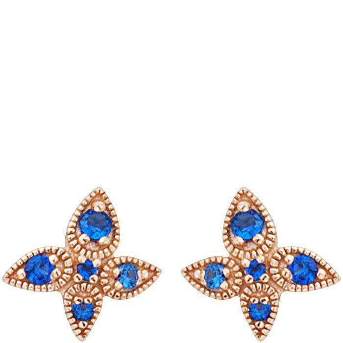 Серьги Armadoro Jewelry в розовом золоте четырехлистные с синими цирконами