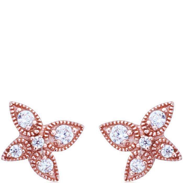 Серьги Armadoro Jewelry в розовом золоте четырехлистные с белыми цирконами