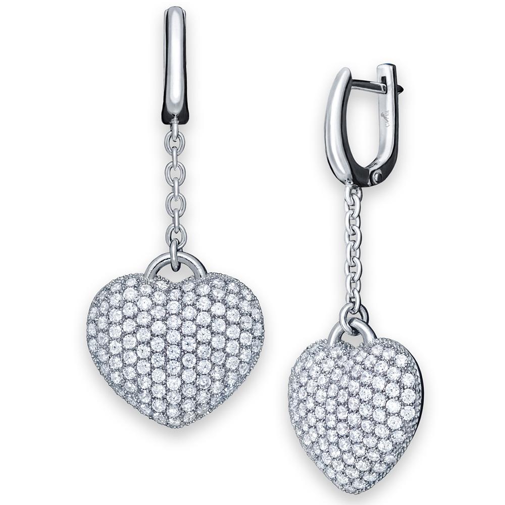 Серьги с подвеской Cava.cool Хрустальное сердце из серебра