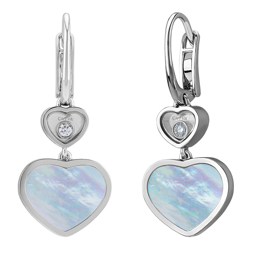Серьги Cava.cool Два сердца из серебра с перламутром и бриллиантом