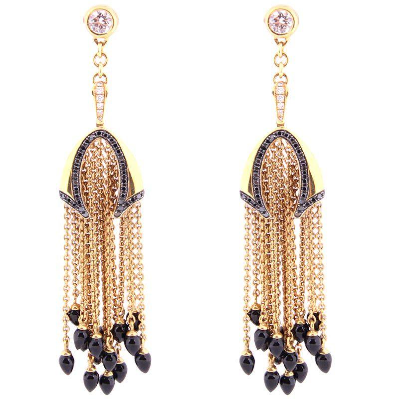 Серьги Di Modolo из золота с подвесками-цепочками с бриллиантами и ониксом