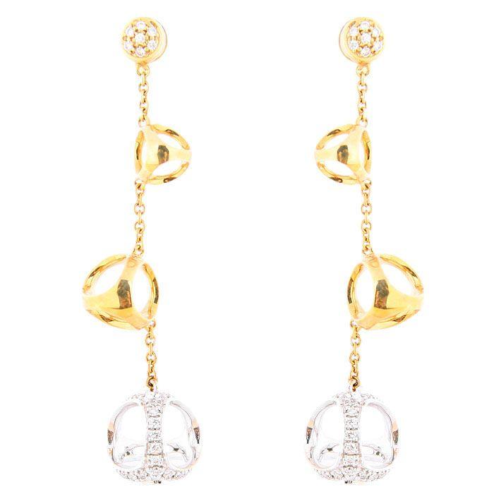 Серьги-гвоздики Di Modolo из белого и желтого золота с бриллиантами