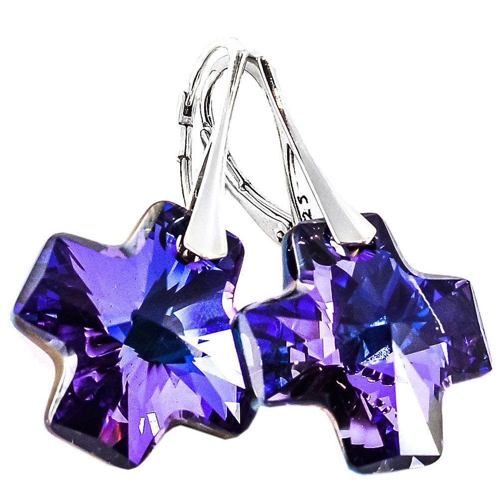 Серебряные серьги She Happy с фиолетовыми кристаллами Swarovski в форме крестика e3009