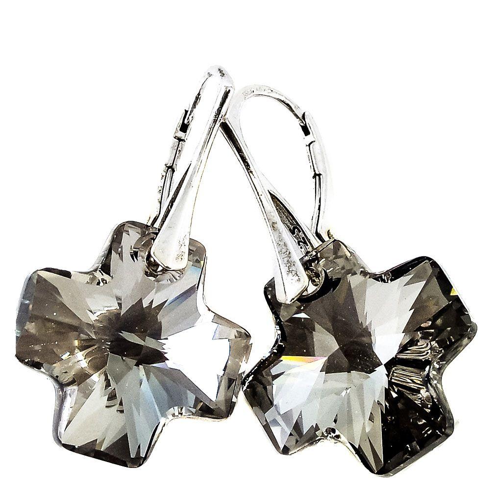 Серебряные серьги She Happy с кристаллами Swarovski кофейного цвета в форме крестика e3011