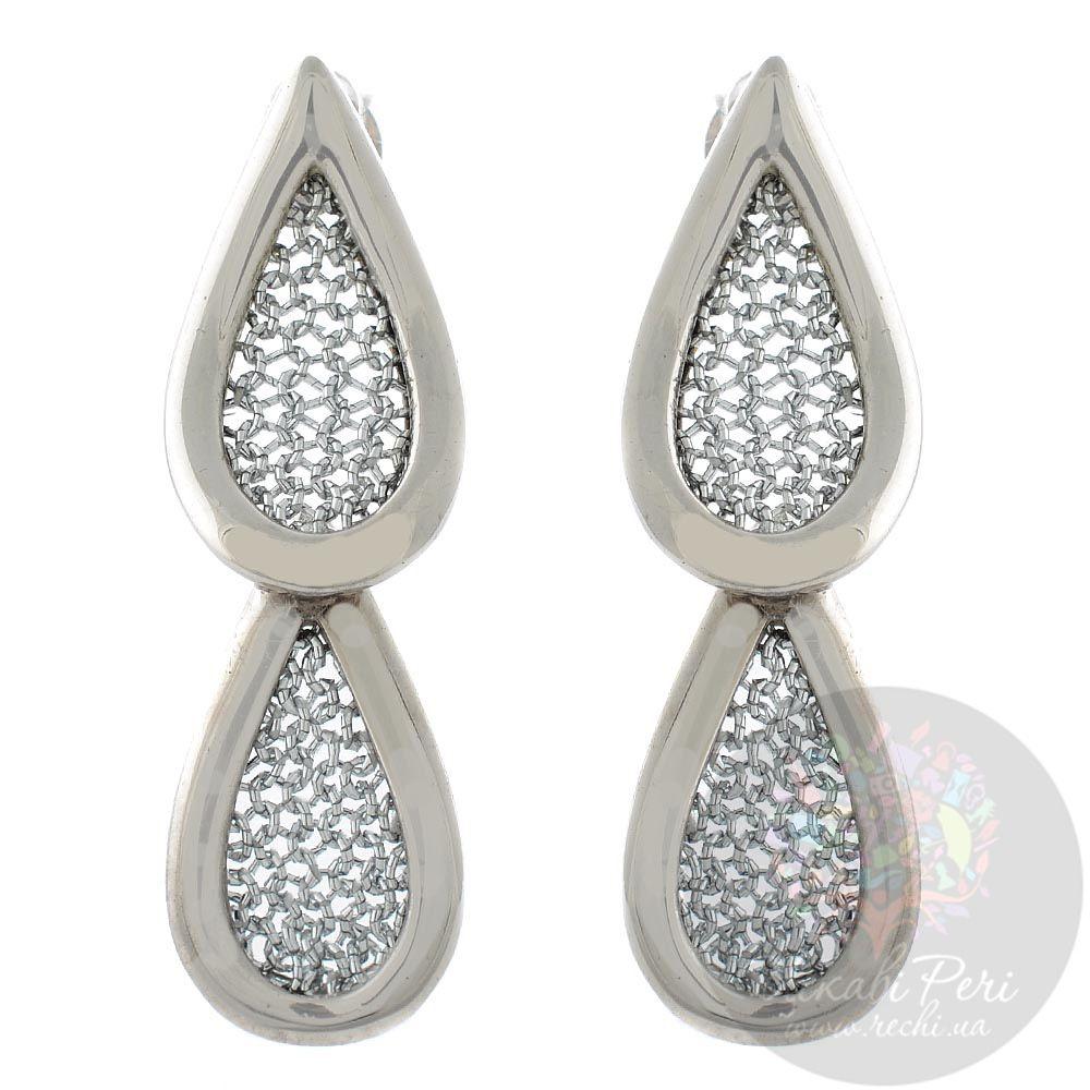 Серьги-капли Adami Martucci серебряные с сеточками-вставками из мягкой серебряной нити