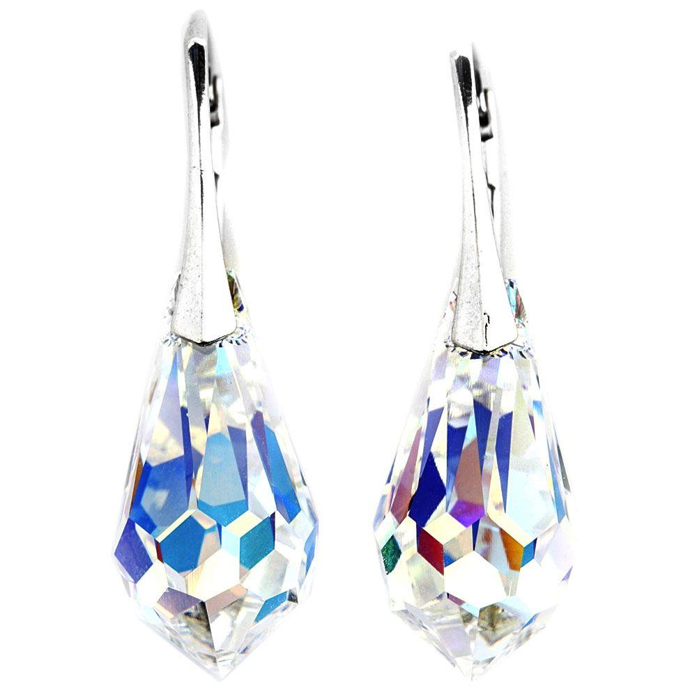 Серебряные серьги-капли She Happy с белыми кристаллами Swarovski e6002