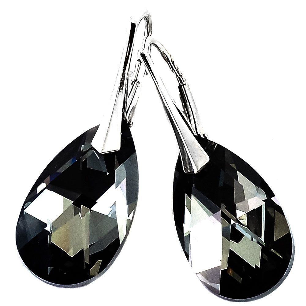 Серебряные серьги She Happy с черными кристаллами Swarovski мелкой огранки e6107