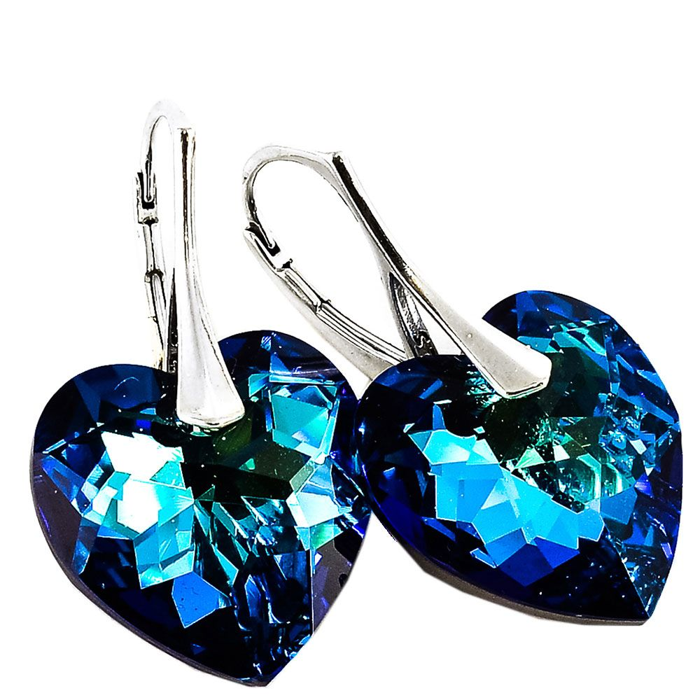 Серебряные серьги She Happy с голубыми кристаллами Swarovski мелкой огранки в виде сердца e6203