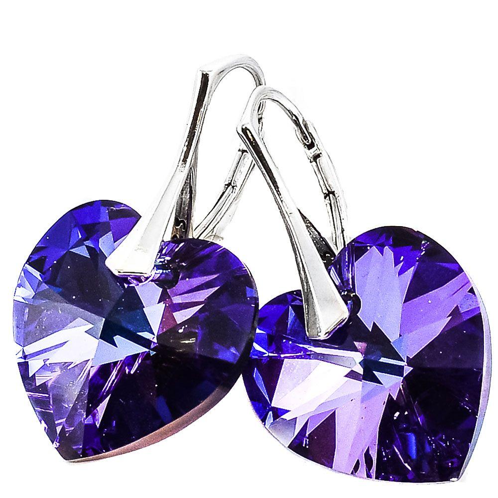 Серебряные серьги She Happy с фиолетовыми кристаллами Swarovski мелкой огранки в виде сердца e6207
