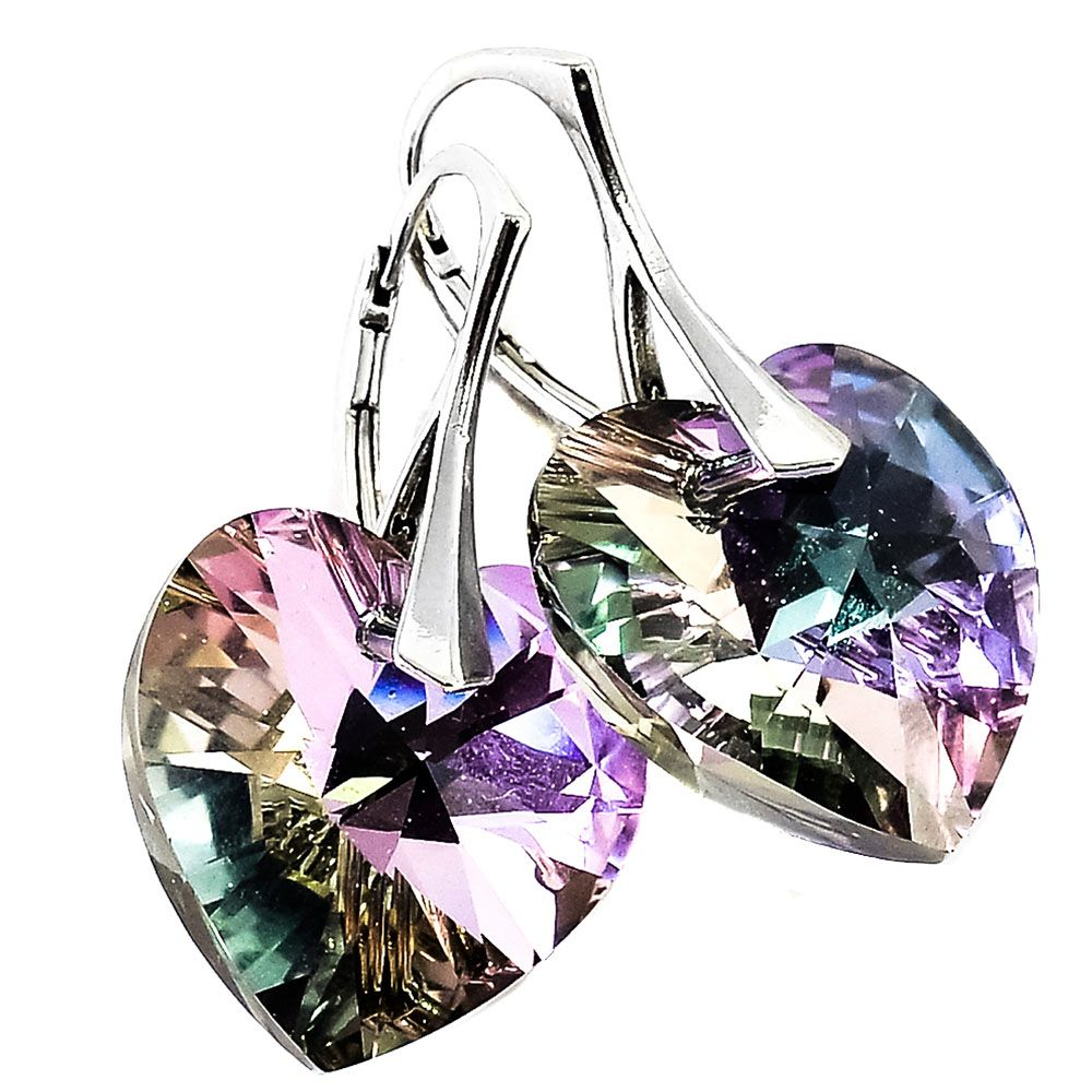 Серебряные серьги She Happy с сиреневыми кристаллами Swarovski мелкой огранки в виде сердца e6213