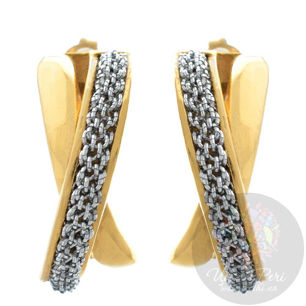 Позолоченные серьги Adami Martucci со вставкой из мягкой серебряной ткани