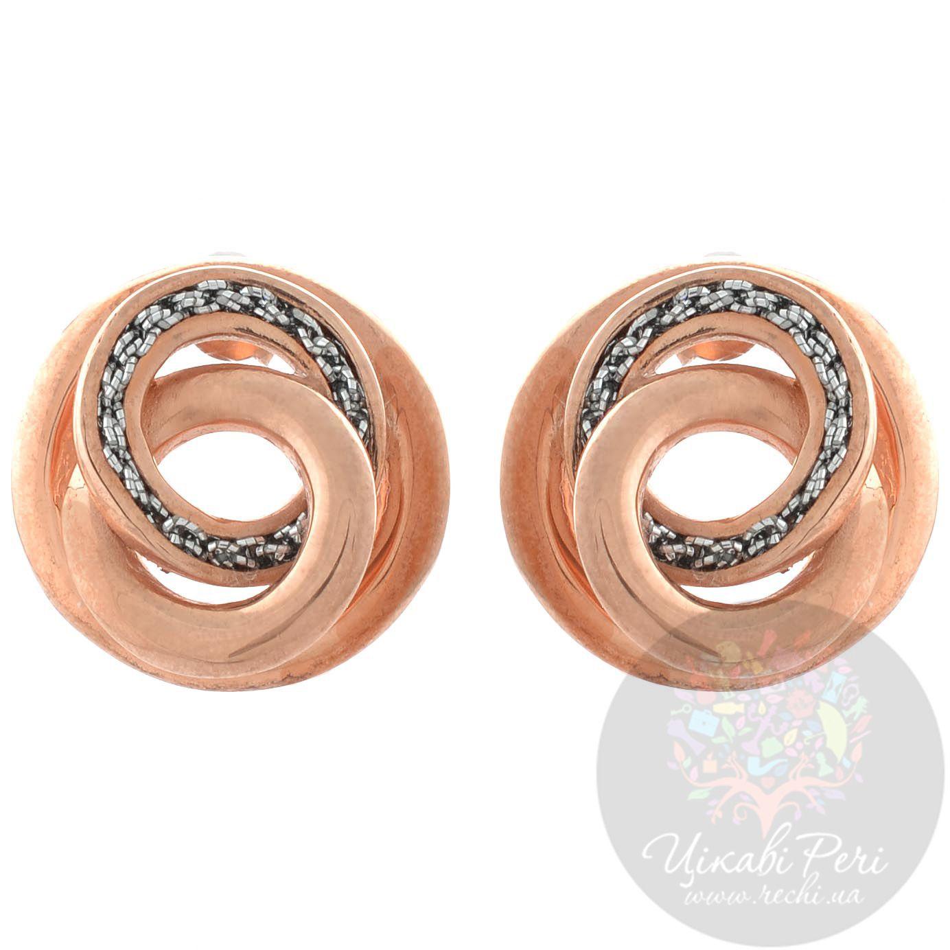 Серьги-завитки Adami Martucci в розовой позолоте с серебряной тканью-вставкой