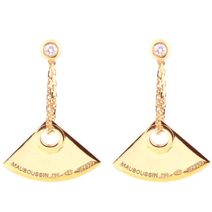Серьги Mauboussin из золота с бриллиантами и брендовой надписью на подвесках