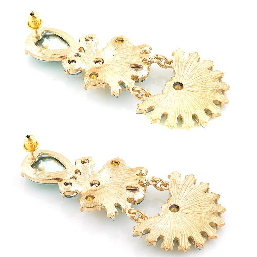 Серьги-пусеты Jewels бирюзового цвета с подвеской в форме веера