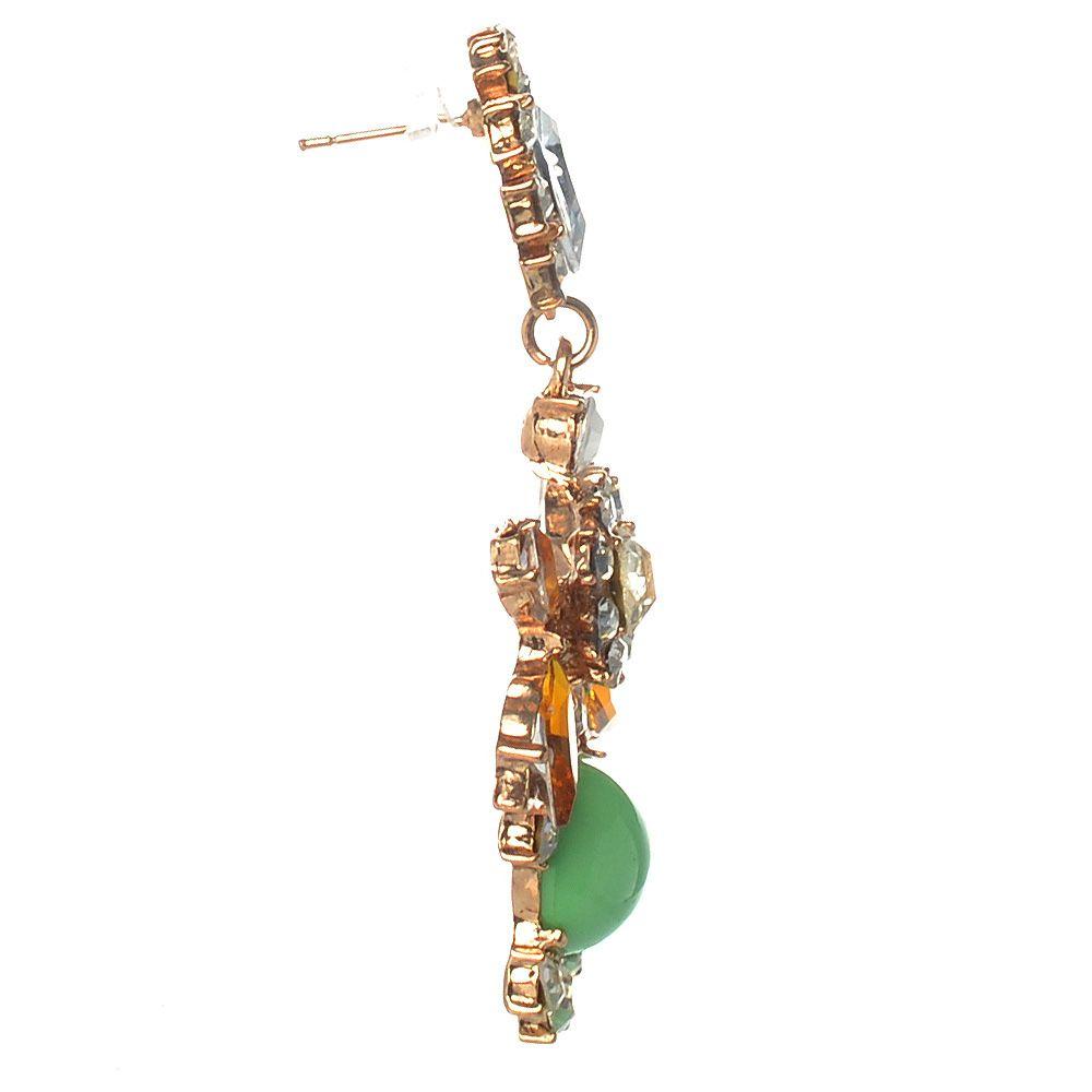 Серьги-гвоздики с подвесками с серебристыми и золотистыми стразами и салатовыми бусинами