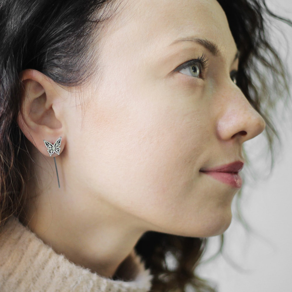 Серьги Logvinenko Jewelry Geometry с черными бабочками