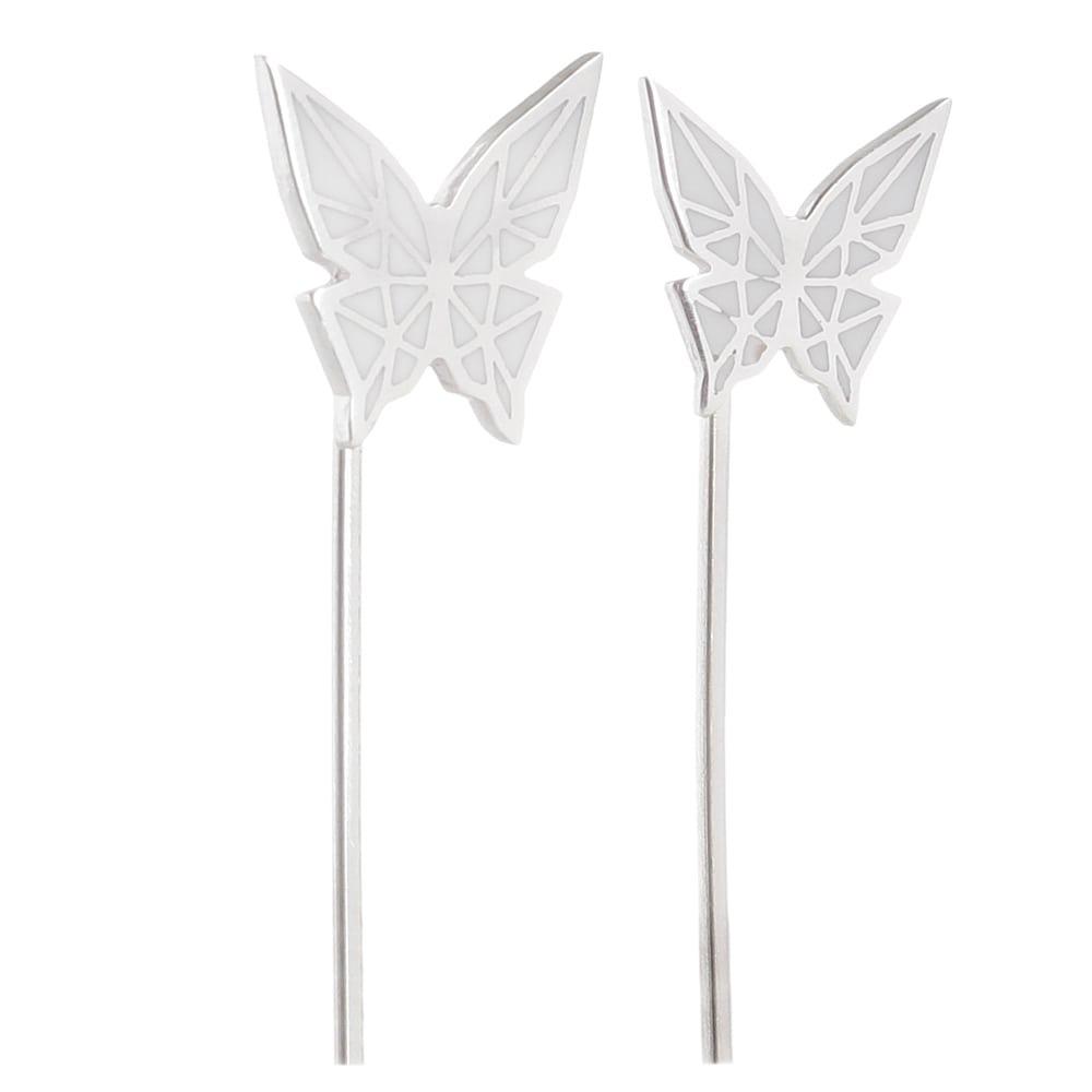 Серьги Logvinenko Jewelry Geometry с белыми бабочками