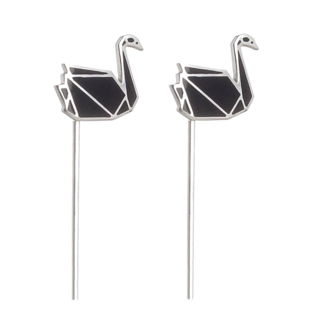 Серьги Logvinenko Jewelry Geometry с черными лебедями