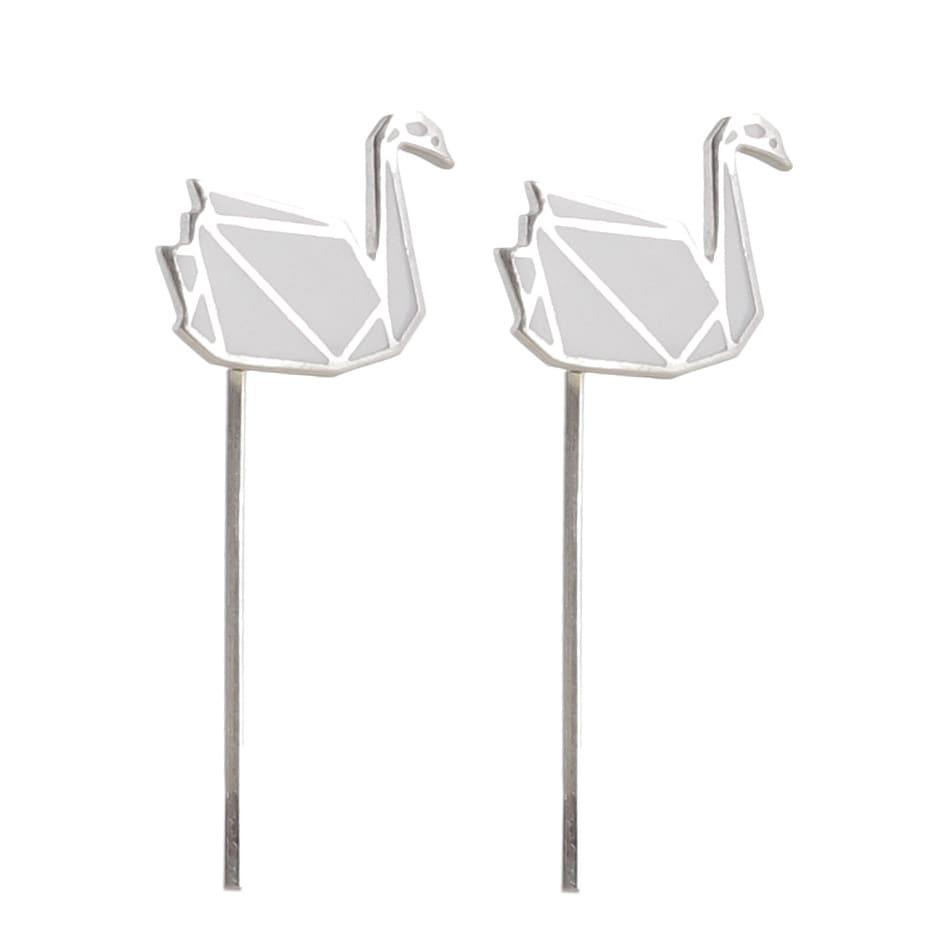 Серьги Logvinenko Jewelry Geometry с белыми лебедями