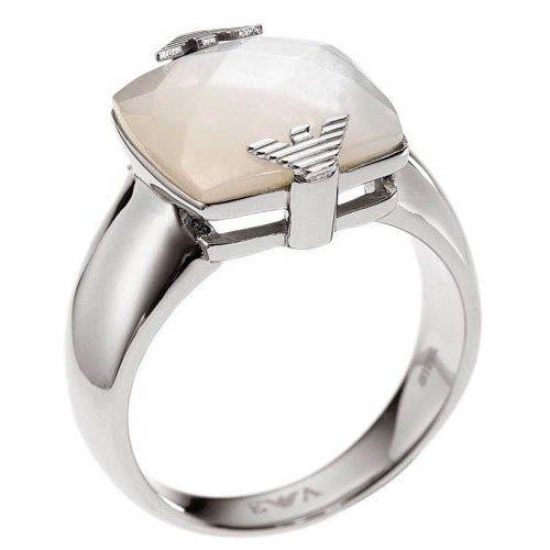 Кольцо Armani стальной с перламутром