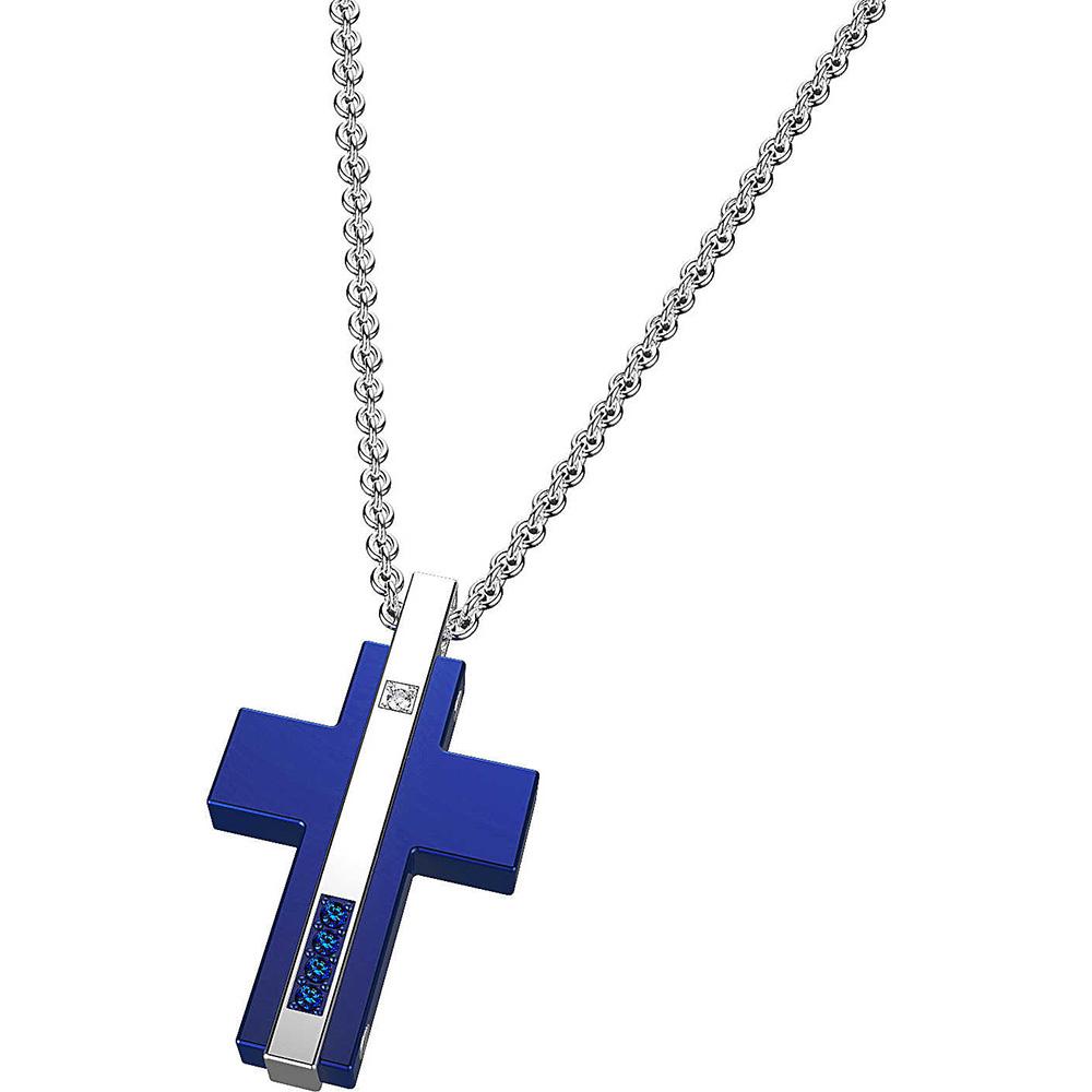 Крест-подвеска Zancan из стали с синим покрытием