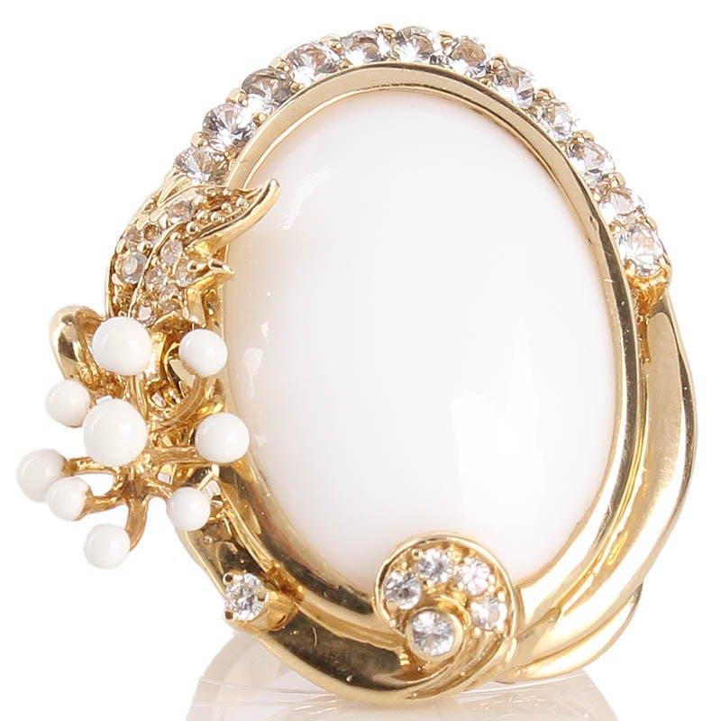 Крупный перстень Roberto Bravo с драгоценными камнями и белой эмалью