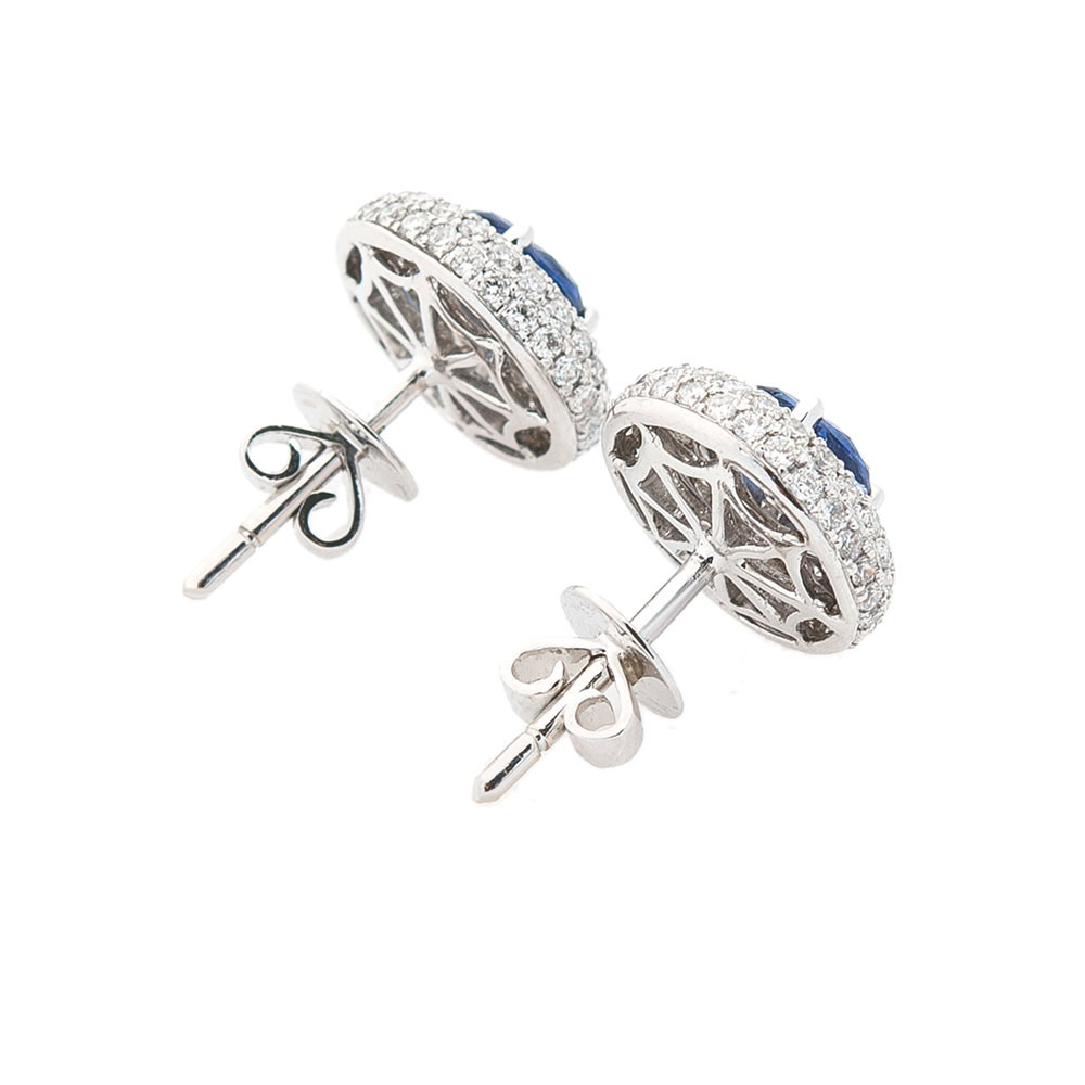 Круглые серьги-пусеты Оникс из белого золота