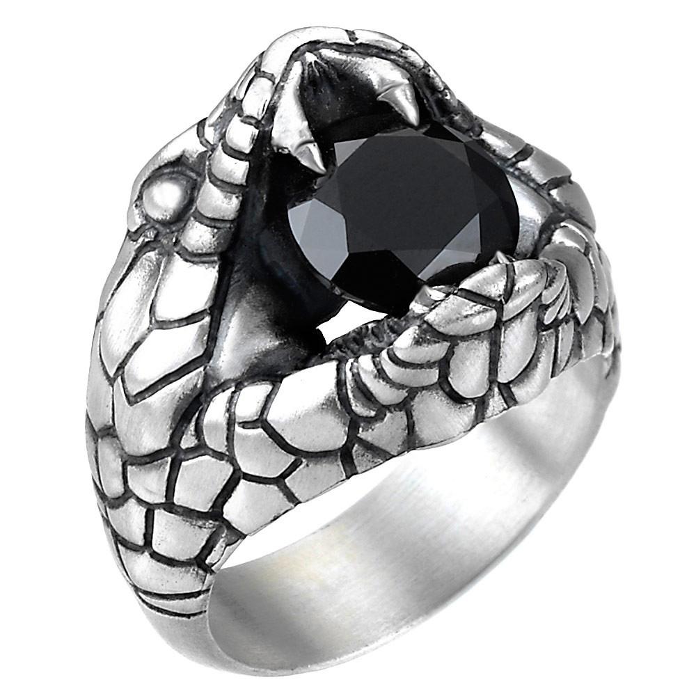 Серебряное кольцо Zancan Vintage кобра с черным шпинелем